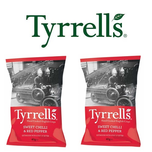 Khoai tây Tyrrells Sweet Chilli and Red pepper hand cooked crisps 40g