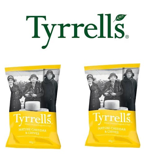 Khoai tây chiên Tyrrells Mature cheddar Cheese and chive hand cooked crisps 40g