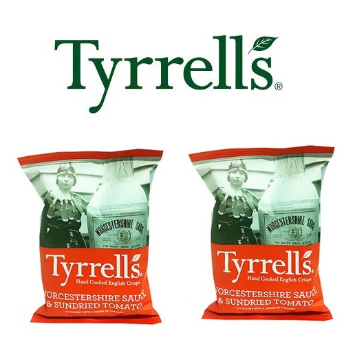 Khoai tây chiên Tyrrells Worcester sauce and sundried tomato hand cooked crisps 40g