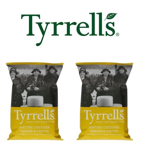 Khoai tây chiên Tyrrells Mature cheddar Cheese and chive hand cooked crisps 150g