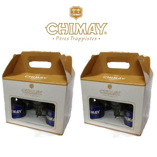 Hộp quà bia Chimay xanh - Hộp 4 chai và 1 ly Chimay cao cấp