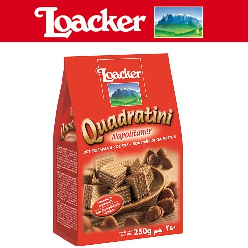 Bánh kem xốp Loacker Quadratini Kem hạt dẻ 250g